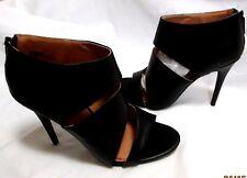 New ANNE MICHELLE Black Open Toe Strappy  Ankle Bootie Back Zip Stiletto Heels 9