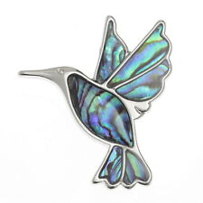 Blue Green Abalone /  Paua Shell Hummingbird Bird Brooch