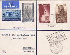 Egypt 1947 Moden Art Registered FDC sent to Scotland