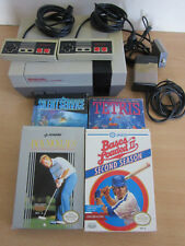 Vintage Nintendo NES-001 System w/ controllers, 5 games in boxes Silent Service+