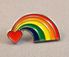 Rainbow / Heart Pride Enamel & Metal Lapel / Pin Badge - 24mm BRAND NEW