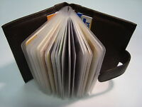 Soft Leather Credit Card Holder for 15 Cards Brown