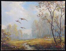 Vol de faisans Large huile sur toile signée Lassalle chasseurs Scène de chasse
