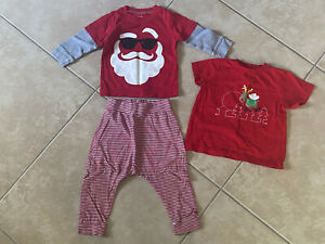 Toddler Boys Girls 12 month Christmas Carter's Santa Reindeer Top Pants Outfit