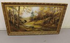 Framed Mid Century Oil Painting Autumn On The River Denham Bridge Devon Tavy