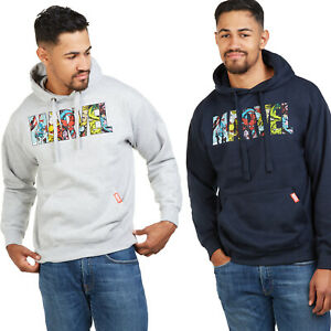 Official Marvel Mens - Logo Characters - Pullover Hood - Navy / Grey