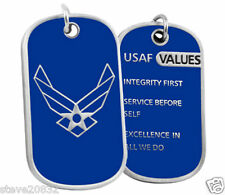 NEW USAF U.S. Air Force Core Values Dog Tag w/Keychain. Blue. 2888.