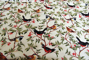 Vögel Meise Rotkehlchen   Patchworkstoff  Baumwolle  50x110cm
