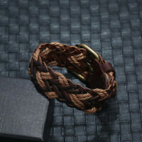 Men Women's Handmade Leather Braided Surfer Wristband Bracelet Punk Bangle Wrap