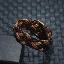 Men Women Handmade Leather Braided Bracelet Surfer Wristband Bangle Wrap Jewelry