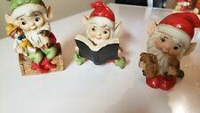 Homco Ceramic Figurines Set of 3 Elves Making Toys Reading 5406