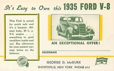 1935 FORD V-8 CHRYSLER PLYMOUTH - EASY TO OWN VINTAGE ADVERTISING POSTCARD VIEW