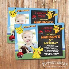 Pokemon / Pikachu Birthday Invitation - Personalized - Digital Printable File