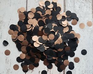 COPPER (ROSE GOLD ),BLACK  CIRCLE CONFETTI WEDDING PARTY ELEGANT/2 HANDFULS