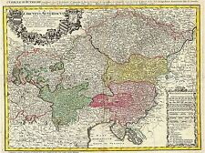 MAP ANTIQUE HOMANN HEIRS AUSTRIA BOHEMIA CZECH REPUBLIC ART POSTER PRINT LV2107