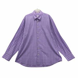 Peter Millar Men's Long Sleeve Dress Shirt Size L Large Cotton Lilac Purple