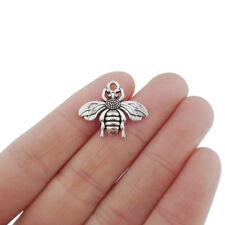 20 x Antique Silver Tone Bumble Bee Honeybee Charms Pendants Beads 22x19mm