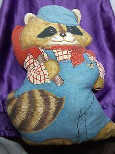 "vintage raccoon pillow plush handmade? 17"""