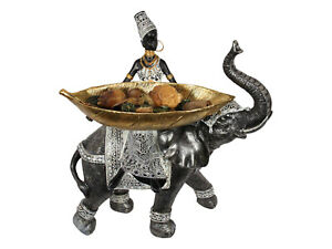 1pce 37cm African Lady On Elephant With Gold Leaf Tray/Bowl, Traditional Style