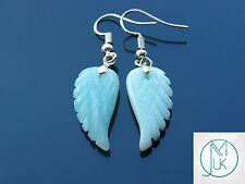 Amazonite Angel Wing Gemstone Earrings Natural Quartz Chakra Healing Stone Reiki