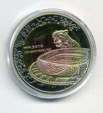 Medaille Fußball Gedenkprägung WM 2010 Südafrika Johannesburg Zertifikat M_137
