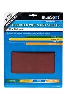 Bluespot 20pc Mixed Assorted Wet & Dry Sandpaper 80, 120, 240 & 500 Grit