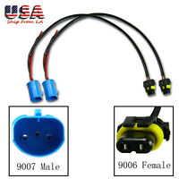 2x 9007 / 9004 Male To 9006 Female Wire Harness Socket for Headlight Fog Lamp