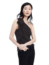 NWT Banana Republic Women Black One-Shoulder Bow Top - Size 6
