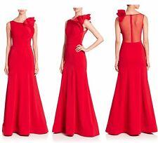 NEW $995 Nero by Jatin Varma Solid Ruffled Boatneck Dress Red [SZ 14] #N667