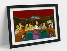 SIMPSONS THE LAST SUPPER -ART FRAMED POSTER PICTURE PRINT ARTWORK- BROWN YELLOW