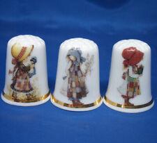 Birchcroft China Thimbles -- Set of Three -- Patchwork Girls