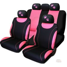 New Front & Rear Black & Pink Polyester Seat Covers Pink Paws Set For Honda