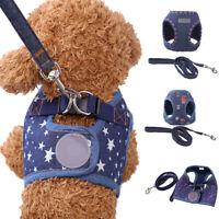 Star Flower Dog Denim Harness Walking Vest Leash Lead Collar Set Pets Supply