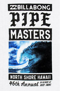 New Billabong Pipe Masters Surfing Contest White Womens Soft Cotton T Shirt