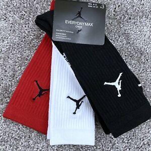Jordan Jumpman Crew Socks Dri Fit 3 Pairs Mens Large Sizes 8-12 Multicolor