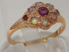 Luxury 9ct Rose Gold Ladies Ruby & Fiery Opal Vintage Style Cluster Ring