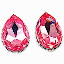 USA EARRING Swarovski ELM Crystal Large Pear shape light pink plated stud silver