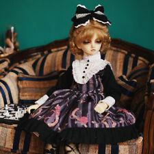 "1/4 BJD MSD Dress & Headdress Set (Black & Purple) - 17"" BJD Doll Clothes"