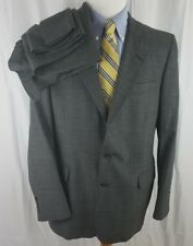 DAKS London New York Gray Blue Plaid 42L Wool 2 Button Suit 36X33.5 Pants