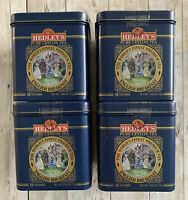 4 - Hedley's The Worlds Finest Premium Tea Tins Pure Ceylon Blue Gold Empty