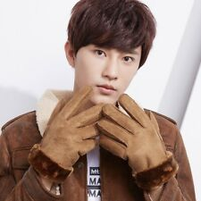 Faux Leather Winter Glove Warm Plush Velvet Outdoor Sport Bicycle Windproof Soft