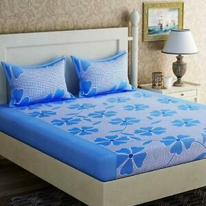 Indian Microfiber 3D Floral Print Double Bedsheet with 2 Pillow Covers – Blue