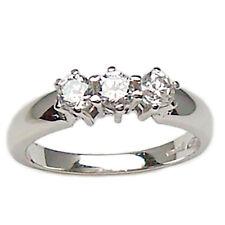 Trilogy anillo de oro blanco 18 kt. con diamantes naturales compromiso mujer