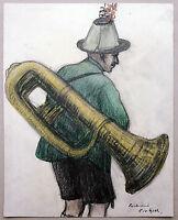Tuba-Spieler Isarwinkler Tracht Farbkreide 1920er J, Richard Pietzsch 1872-1960