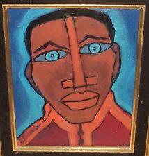 ELMER SANDERS AFRICAN AMERICAN MAN'S FACE ORIGINAL OIL ON BOARD PAINTING SIGNED