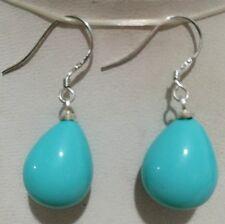 12X16MM Blue Shell Pearl Drop Earrings AAA+