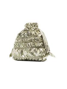 Molly Goddard Nara Bumpy Clutch Drawstring Bag Gold Wedding Cruise Theatre