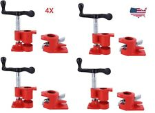 "4 Pack 3/4"" Wood Gluing Pipe Clamp Set Heavy Duty Pro Woodworking Cast Iron"