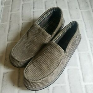 Mens L.L.Bean Slippers Gray Corduroy Comfy Slip On Size 13 Medium