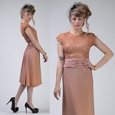 VTG 30s 40s Pink LACE Ruched Rayon Wedding Party Prom DRESS XS-S